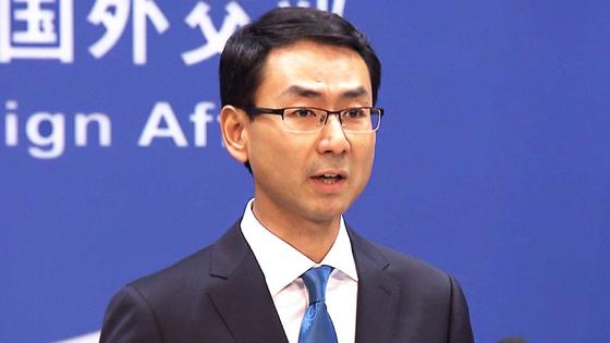 """겅솽 중국 외교부 대변인은 27일 정례 기자회견에서 """"중국이 북한에 코로나 진단 키트를 제공했다""""고 밝혔다. 중국이 북한에 대한 방역 지원을 공식적으로 밝힌 건 처음이어서 주목된다. [연합뉴스]"""