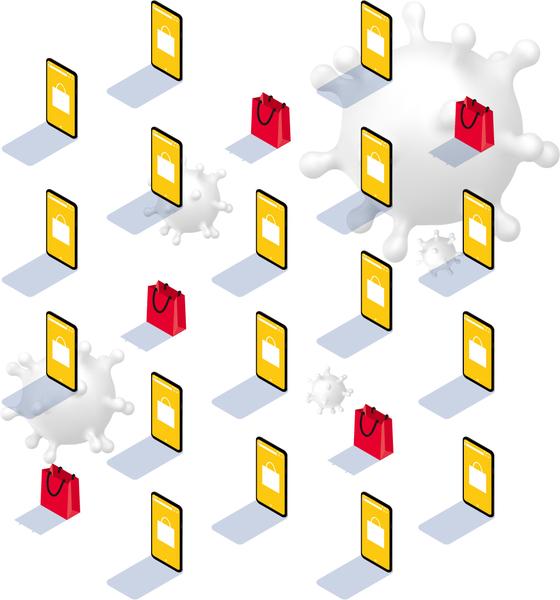 코로나19가 바꾼 우리의 삶. 디지털 일상화가 가속화되고 유통의 주도권이 온라인으로 넘어가는 미래에 오프라인 매장의 형태는 어떻게 변화할까. 그래픽 신용호