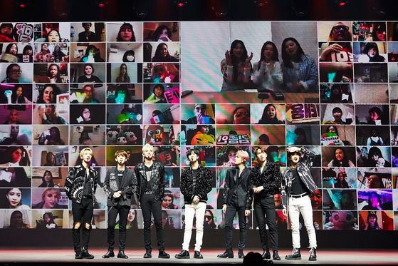 26일 세계 최초로 시도한 온라인 유료 콘서트 '슈퍼엠 - 비욘드 더 퓨처'. [사진 SM엔터테인먼트]