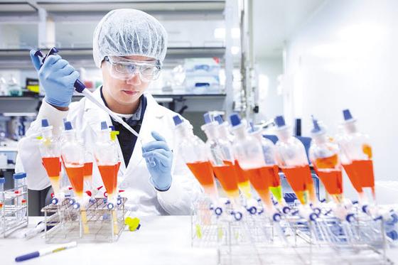 SK바이오사이언스 연구원이 백신 생산을 위한 연구를 진행하고 있다. 이 연구는 코로나19 등 기존에 없던 호흡기 감염병 변종 바이러스가 출현하더라도 동일한 과정을 통해 빠르게 백신을 개발할 수 있는 플랫폼을 확보하는 것이 목적이다. [사진 SK]