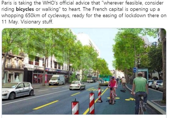 WHO는 코로나19 시대 이동수단으로 걷기나 자전거 타기를 권고한 바 있다. [트위터]