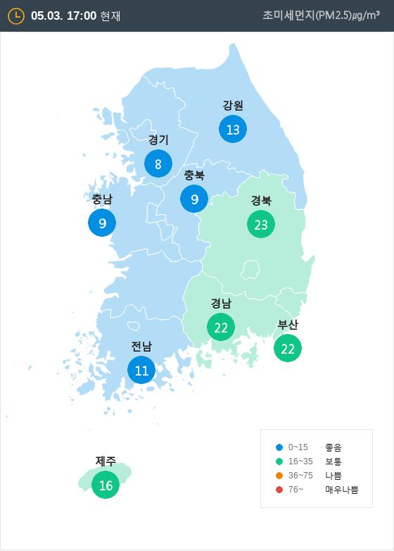 [5월 3일 PM2.5]  오후 5시 전국 초미세먼지 현황