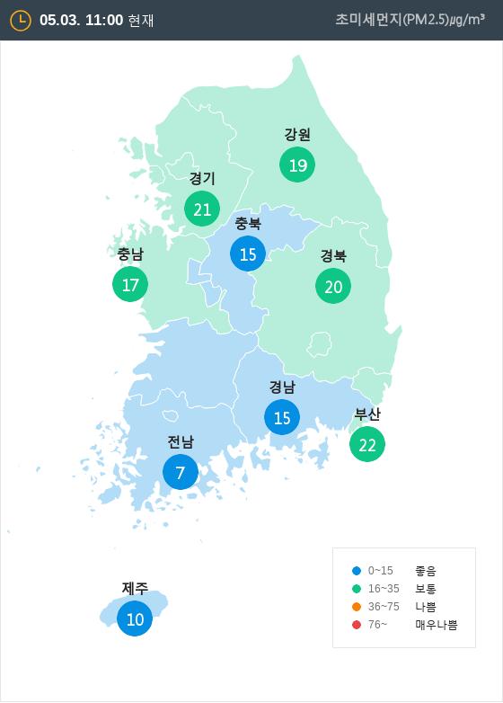 [5월 3일 PM2.5]  오전 11시 전국 초미세먼지 현황