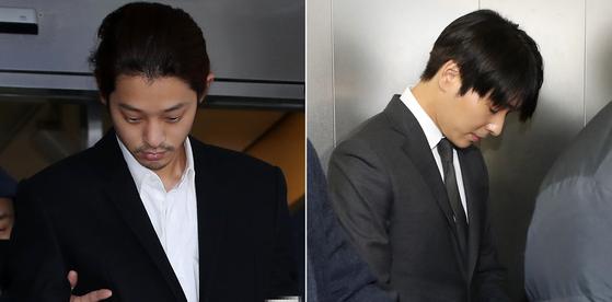 가수 정준영(왼쪽)과 최종훈(오른쪽) [중앙포토]