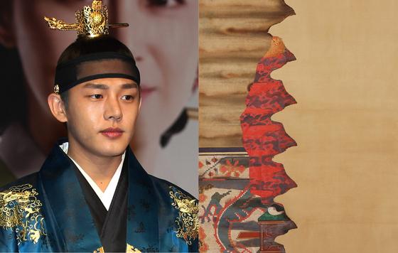 2013년 SBS 드라마 '장옥정, 사랑에 살다'에서 숙종으로 변신했던 배우 유아인(왼쪽)과 숙종 어진으로 추정되는 불에 탄 초상화의 부분.
