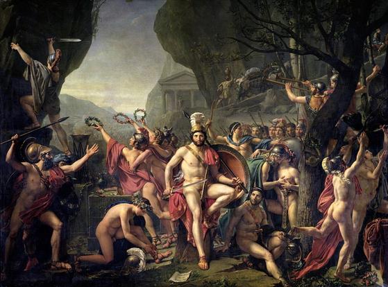 레오니다스와 300 용사의 분투를 묘사한 크루이 다비드의 작품. 오늘날 이들의 전과에 대해 많은 반론이 제기되지만 역사에는 제2차 페르시아 전쟁에 많은 영향을 끼친 것으로 기록되어 있다. [사진 he Gallery Collection]