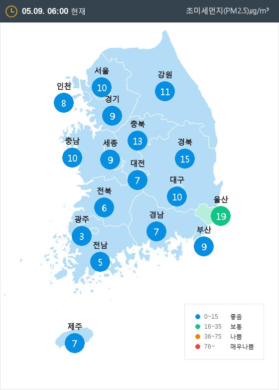 [5월 9일 PM2.5]  오전 6시 전국 초미세먼지 현황
