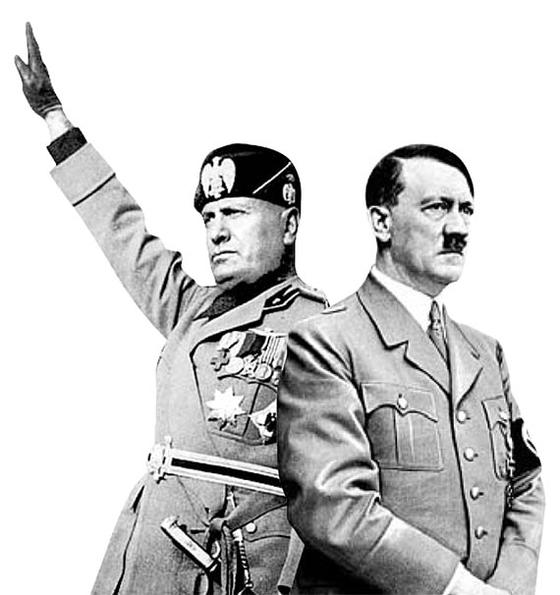 베니토 무솔리니(왼쪽)과 아돌프 히틀러. 중앙포토