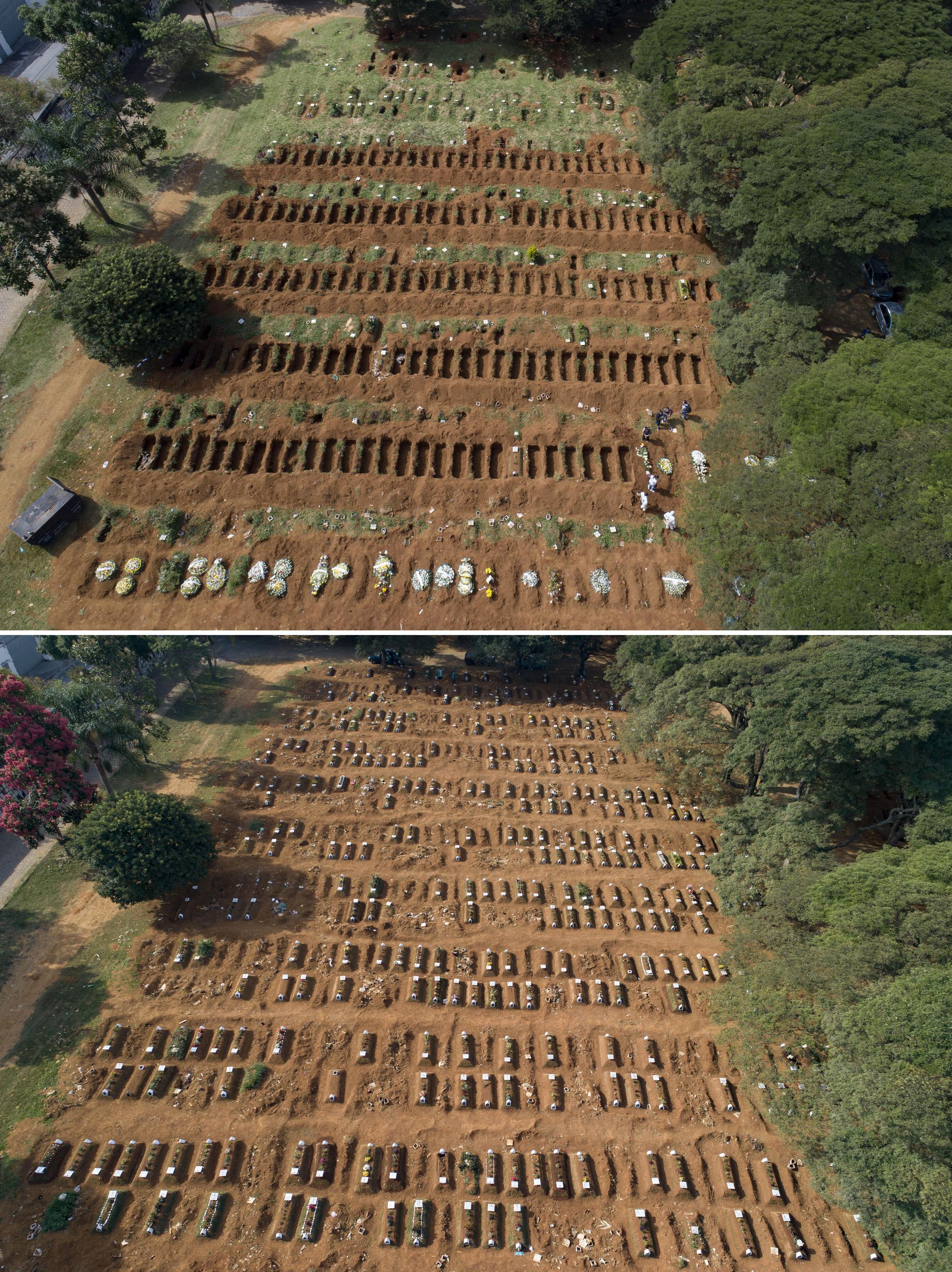 브라질에서 코로나19가 기승을 부리고 있는 가운데 지난 한 달 간 숨진 이들의 무덤이 상파울루의 빌라포르모사 공동묘지 신설 묘역을 가득 메우고 있다. 지난 4월1일 텅 빈 구덩이만 가득했던 브라질 상파울루의 빌라포르모사 공동묘지가 한 달 가량 후인 30일(아래 사진) 빼곡하게 메워져 있다. [AP=연합뉴스]
