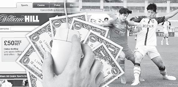 베팅업체 윌리엄 힐은 한국 프로야구·축구를 대상경기에 포함시켰다. 윌리엄 힐 홈페이지와 프로축구 장면을 합성했다. [연합뉴스, 사진 윌리엄 힐]