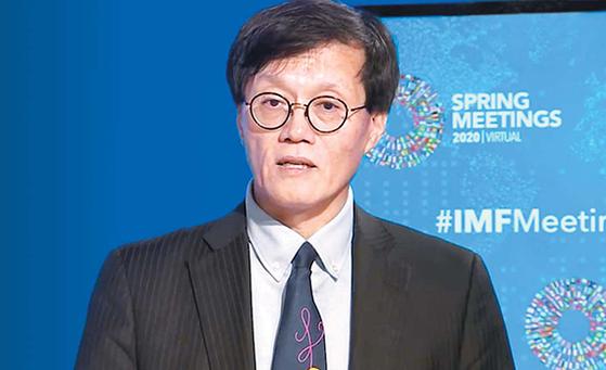 이창용 IMF 국장은 코로나19가 진정되더라도 경제가 예전 수준으로 회복될 수 있을지에 의문을 표했다. 사진은 지난달 IMF에서 브리핑하고 있는 이 국장. [IMF 동영상 캡처]