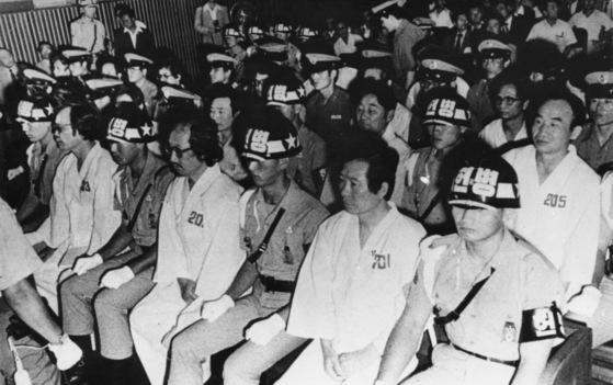 1980년 내란음모 사건으로 군사법정에서 재판을 받고 있는 김대중 전 대통령. [중앙포토]