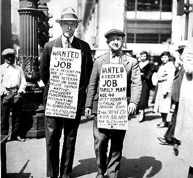 1930년대 미국 대공황 당시 거리 구직에 나선 미국 실업자들. [중앙포토]