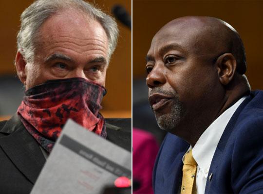 지난 12일 미국 상원 청문회에서 손수건으로 얼굴을 가린 민주당 팀 케인 의원(왼쪽)과 마스크를 쓰지 않은 공화당 팀 스콧 의원. [EPA=연합뉴스]