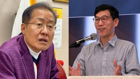 홍준표 전 자유한국당 대표(왼쪽)와 진중권 전 동양대 교수. 연합뉴스, 뉴스1