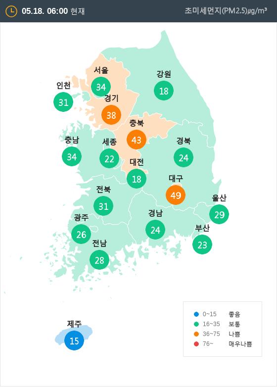 [5월 18일 PM2.5]  오전 6시 전국 초미세먼지 현황