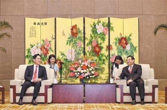 산시일보에 따르면 중국을 방문한 이재용 삼성전자 부회장이 지난 18일 중국 산시성의 후허핑(胡和平) 당서기를 만나 협력방안을 논의했다. [사진 산시일보]