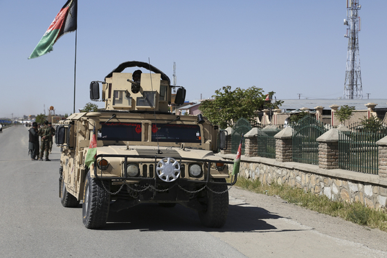 18일 차량 폭탄 테러가 일어난 가즈니 지역 인근. 신화=연합뉴스