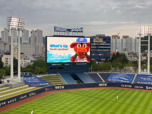 지난 8일 홈 개막전에서 NC 야구단이 전광판에 통해 더램 불스의 캐릭터를 내보내며 노스캐롤라이나 팬들에게 인사했다. [사진 더램 불스 SNS]