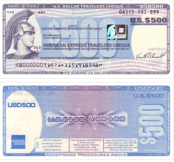 미국 달러화로 된 여행자수표. 하나은행
