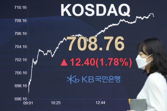 20일 코스닥지수가 전 거래일보다 12.40포인트(1.78%) 오른 708.76으로 마감했다. 연합뉴스