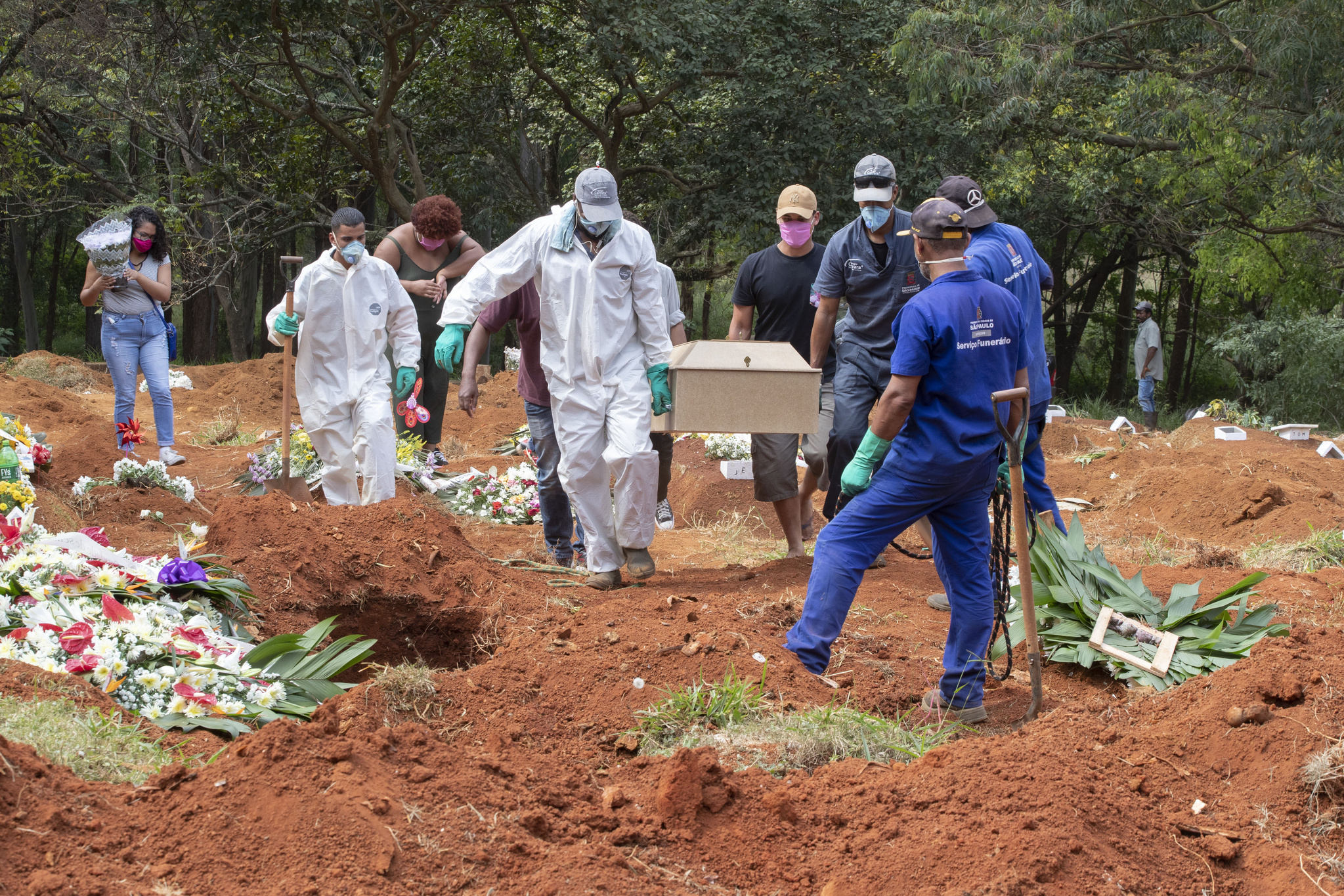 브라질 상파울로의 한 공동묘지 관계자들이 코로나19 사망자의 시신이 담긴 관을 운반하고 있다. AP=연합뉴스