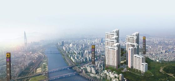 최근 한강 조망이라는 입지적 장점과 개발 호재가 이어지면서 서울 광진구에 대한 관심이 높아지고 있다. 광장동 332-9번지 일원의 '한강 광장'은 교통·학군·생활편의 등 조건을 두루 갖춘 아파트다. 사진은 광역 조감도 모습.