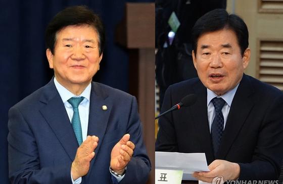 왼쪽부터 박병석, 김진표 민주당 의원. [연합뉴스]