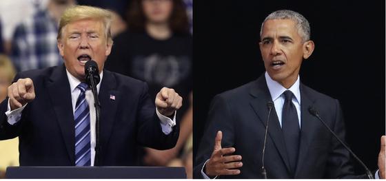도널드 트럼프 대통령과 버락 오바마 전 대통령. 사진은 2018년 11월 6일 치러지는 미 중간선거를 위해 선거 유세를 하는 장면. [AP=연합뉴스]