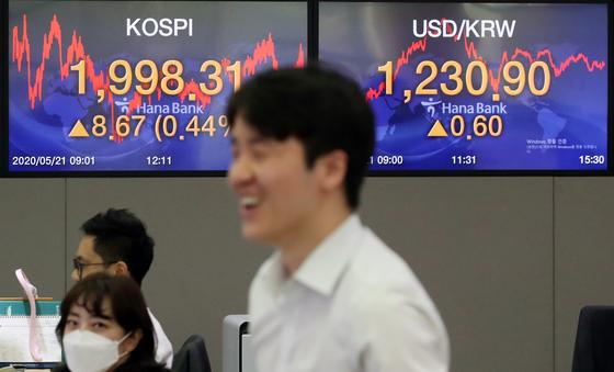 21일 코스피가 2000선에 바짝 다가섰다. 사진은 21일 서울 중구 하나은행 본점 딜링룸. 연합뉴스