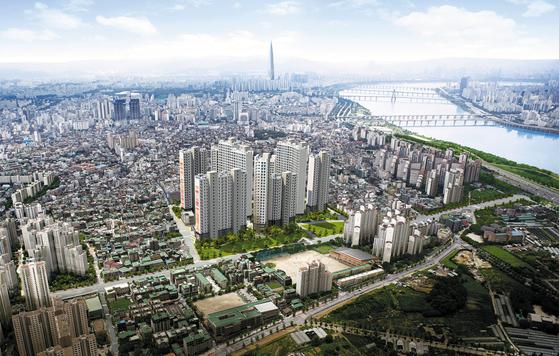 서울 강동구에 주변 시세의 절반 수준에 공급 중인 암사 한강 조감도. 가격이 저렴한 데다 8호선 연장에 따른 미래가치가 뛰어나다는 점에서 실수요자는 물론 투자자의 관심이 크다.