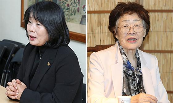 윤미향 더불어민주당 국회의원 당선인(왼쪽)과 일본군 '위안부' 피해자 이용수 할머니. 중앙포토