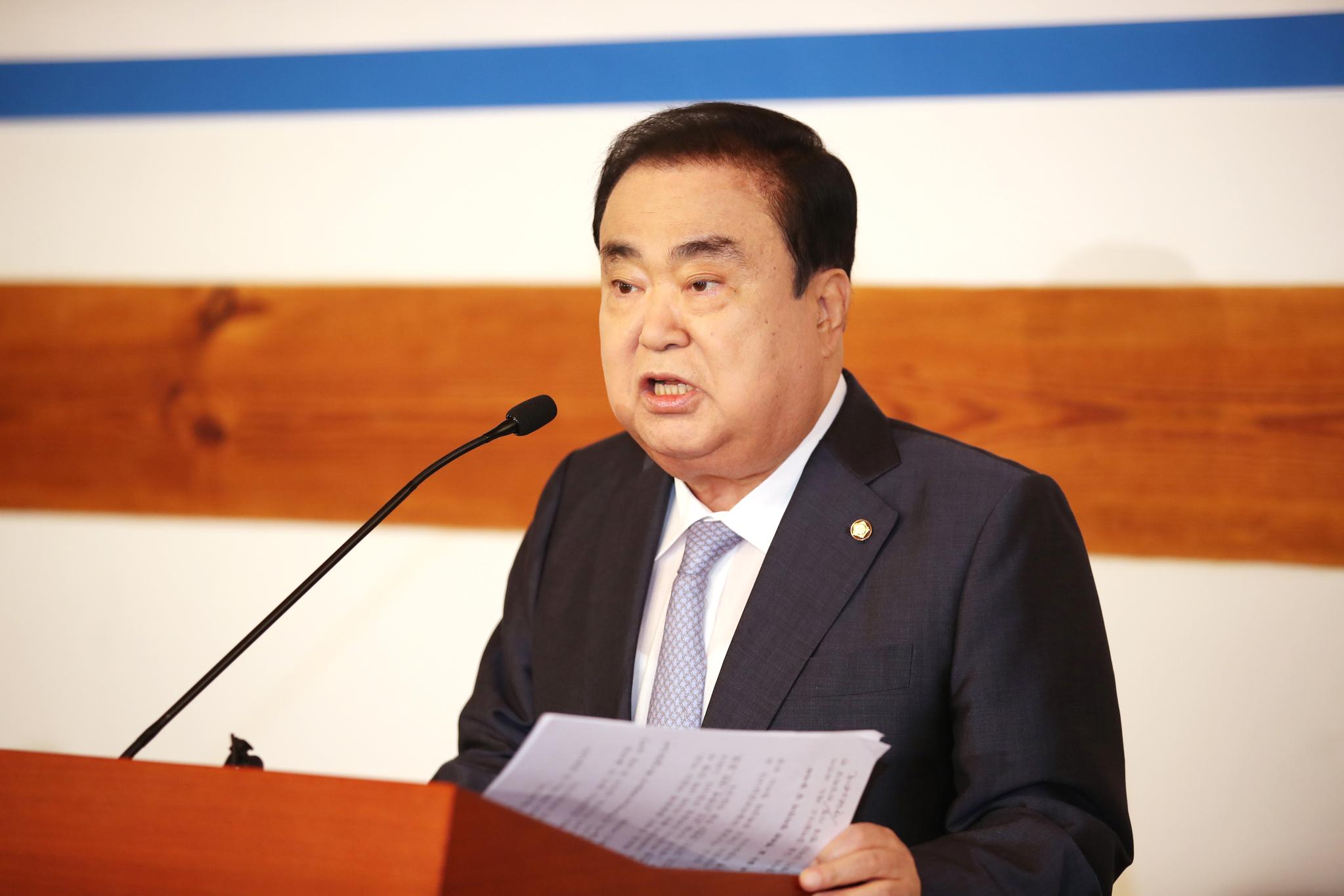 문희상 국회의장이 21일 오전 국회 사랑재에서 열린 퇴임 기자간담회에서 발언하고 있다. 연합뉴스