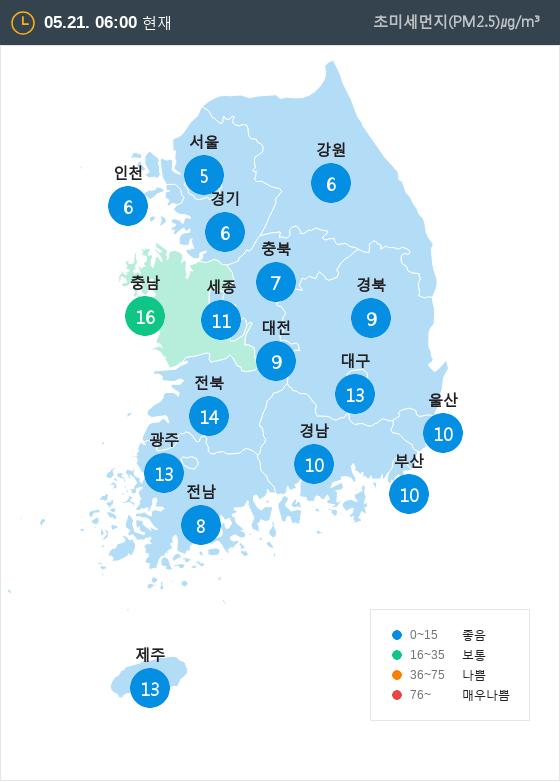 [5월 21일 PM2.5]  오전 6시 전국 초미세먼지 현황