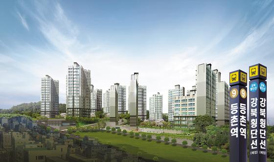 서울 강서구 마곡지구 바로 인근에 위치해 있어 마곡지구의 직주근접 주거단지로 관심을 끌고 있는 스톤힐등촌 투시도. 2021년 착공 예정인 '강북의 9호선' 강북횡단선의 수혜도 예상된다.