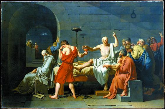 1787년 자크 루이 다비드가 그린 '소크라테스의 죽음' . 육체보다 정신을 강조했던 소크라테스는 죽음을 두려워하지 않았다. 침대에 등 돌리고 고개숙여 앉아 있는 사람이 수제자인 플라톤, 소크라테스의 무릎에 손을 얹은 이가 '절친'인 크리톤이다. [사진 위키피디아]