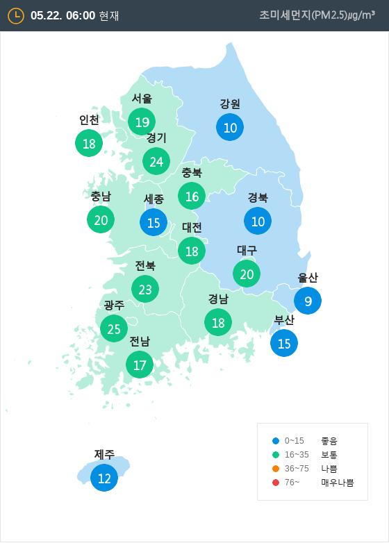 [5월 22일 PM2.5]  오전 6시 전국 초미세먼지 현황