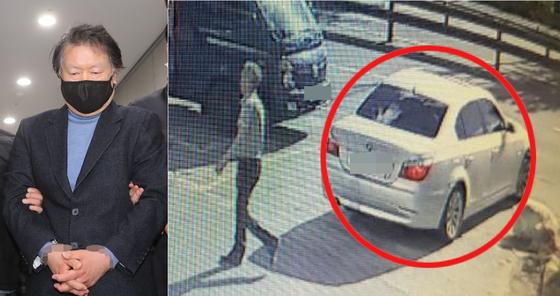 지난 2월 25일 국제PJ파의 부두목 조모씨가 검거된 모습. 오른쪽은 사업가 납치살인 공범 중 1명이 지난해 5월 20일 사체 유기장소에 가기 전 용의 차량(빨간색 원)에서 내린 모습. [연합뉴스] [뉴시스]