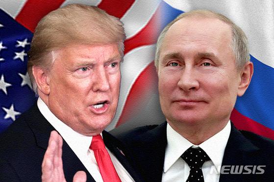 도널드 트럼프 미 대통령과 블라디미르 푸틴 러시아 대통령은 지난 5월 7일 전화 통화를 하고 코로나 사태와 핵무기 통제협정인 뉴스타트 등에 대해 논의했다. 트럼프 대통령은 미-러 간 핵 통제협정에 중국도 포함시켜야 한다는 주장을 펴고 있지만 진척이 거의 없다. [뉴시스]