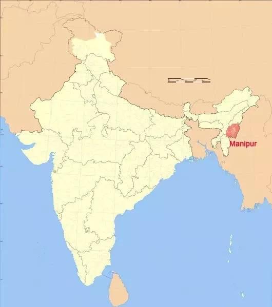 인도 동북부에 위치한 마니푸르주는 인도를 구성하는 29개 주 중 하나로 미얀마와 국경을 접하고 있다. [중국 바이두 캡처]
