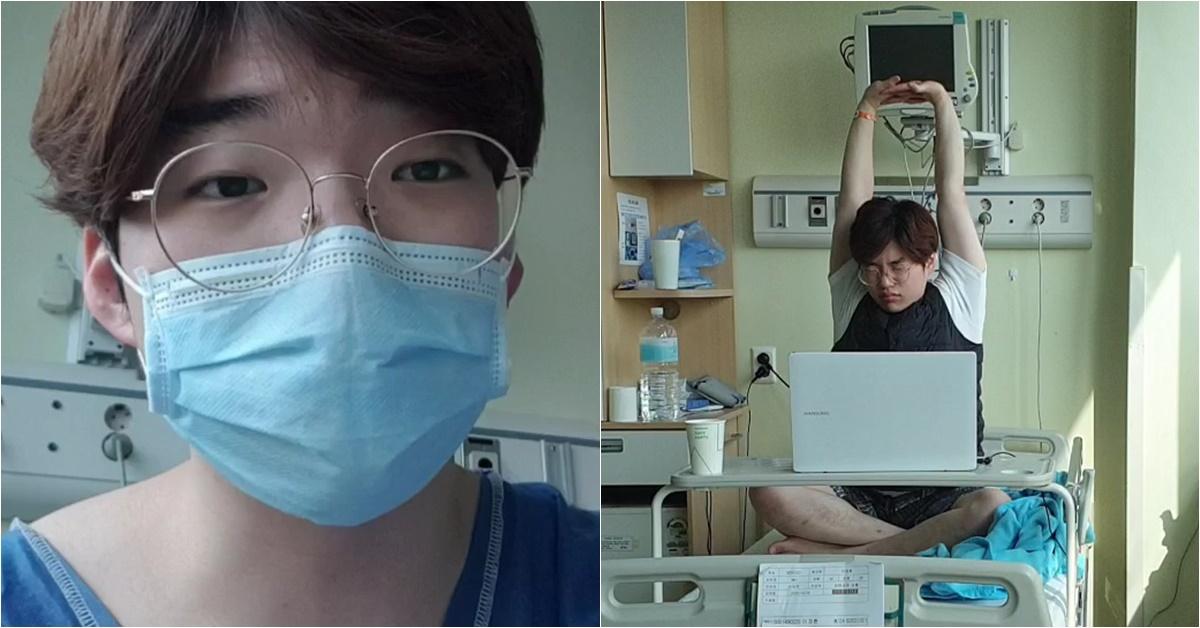 20대 코로나 확진자 투병일기를 공개한 이정환씨. 유튜브 '도전하는복학생Korean Challenger'(사진 왼쪽)와 병원에서 이씨. [사진 이정환씨]