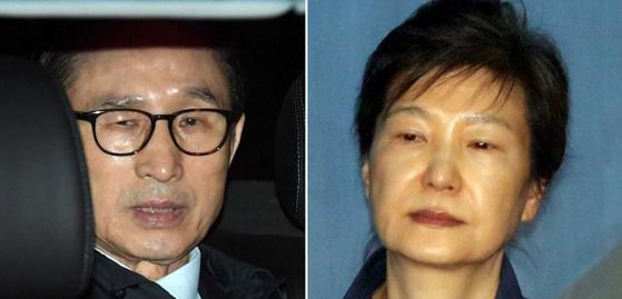 이명박 전 대통령(왼쪽)과 박근혜 전 대통령.