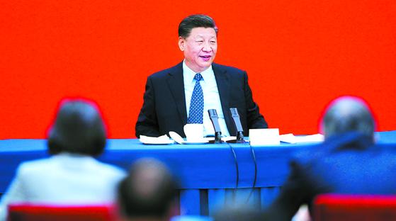 지난 23일 정협 경제계 위원 연석회의에 참석한 시진핑 중국 국가주석. [중국 신화망 캡처]
