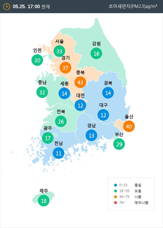 [5월 25일 PM2.5]  오후 5시 전국 초미세먼지 현황