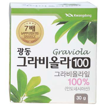 '광동 그라비올라 100'은 인도네시아 자바섬에서 수확한 그라비올라 잎을 7배 농축해 만들었다. [사진 광동생활건강]