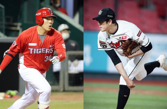 지난 26일 수원 KT-KIA전에서 데뷔 후 맞대결을 펼친 유원상(오른쪽)·유민상 형제. 사진=IS포토·KT