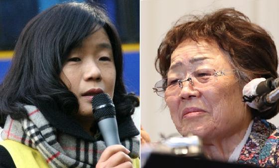윤미향 더불어민주당 비례대표 당선인(왼쪽)과 이용수 할머니. 윤 당선인 페이스북, 연합뉴스