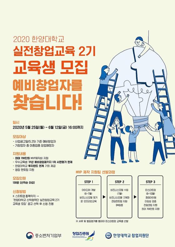 한양대학교 창업지원단, 내달 12일까지 '실전창업교육 2기 교육생' 선착순 모집