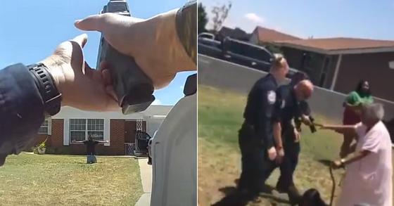 미국 텍사스주(州) 미들랜드 경찰이 지난 16일 타이 앤더스를 체포했다. 왼쪽은 경찰이 뒤늦게 공개한 바디캠 영상, 오른쪽은 SNS를 통해 퍼진 영상의 한 장면이다. [미들랜드시 유튜브, SNS]
