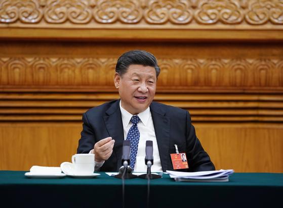 지난 24일 중국 베이징에서 열린 전국인민정치협상회의(정협) 전국위원회 제13기 제3차 회의에 참석한 시진핑 중국 국가주석이 발언을 하고 있다.[신화=연합뉴스]